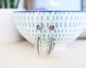 Silver Feather Earrings • Jewellery, gifts for her, navajo, wings, boho, native indian, dreamcatcher, Valentines girlfriend wife, jewelry