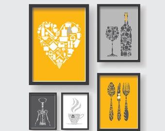 Mustard Yellow Gray Pattern Kitchen Decor Set, Unique Kitchen Decor, Yellow  Kitchen Wall Art