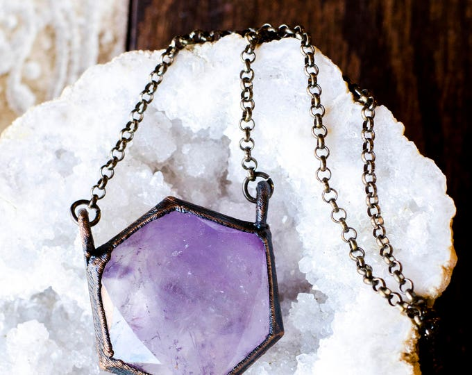 Large Amethyst Hexagon Necklace