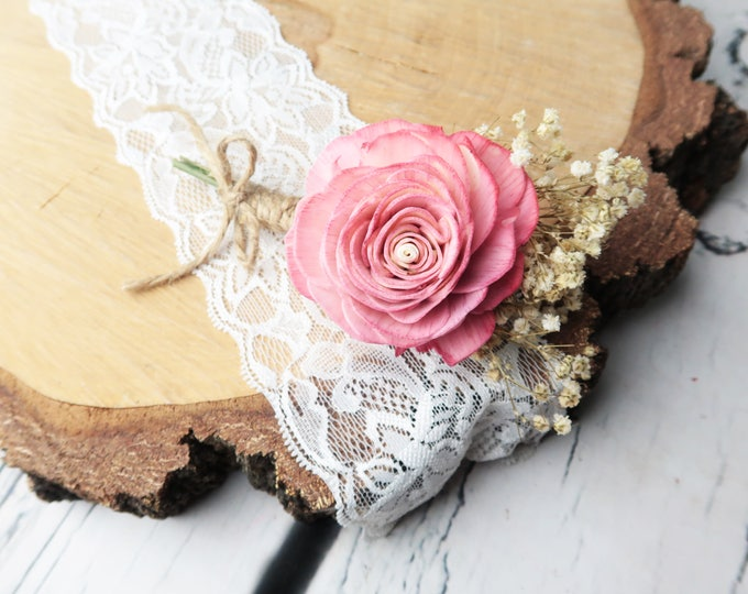 Wedding boutonniere Blush pink rose preserved natural gypsophila rustic Sola Flower dusty pink hairpiece groom accessory delicate romantic
