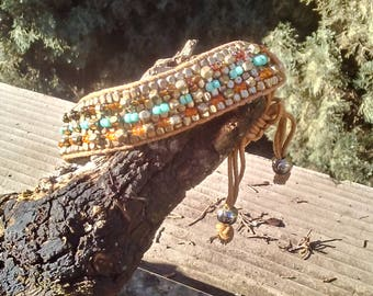 Tile Bead Bracelet/Multi-Color Tile Bead Bracelet/Gold Dark Amber and Aqua Tile Bracelet, Brown and Gold Pull Knot Tile Bracelet