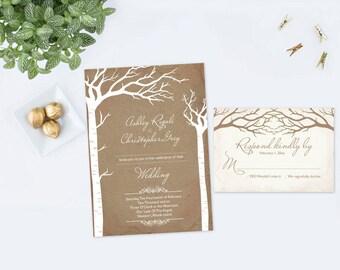 Rustic Elopement Invitation, RSVP, Editable Elope Invitation, Wedding Invite, We Eloped, Wedding Elope, Instant Download, Wedding Printable