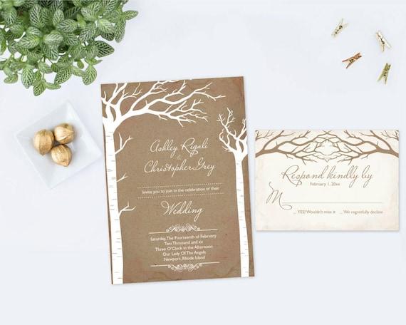 Elopement Wedding Invitations: Rustic Elopement Invitation, RSVP, Editable Elope