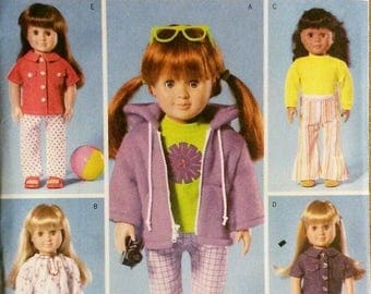 Butterick B4089 18 inch Doll Clothes Pattern Fits American Girl Dolls Multiple Outfits Retro 2003 Uncut Free USA Shipping