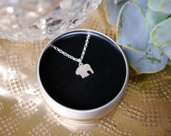 Sterling Silver Elephant Necklace / chain / elephant gift / gifts for her / bridesmaid gift / stocking filler / 925 / hypoallergenic