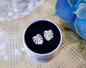 Sterling Silver Cheese Plant Earrings / studs / cheese plant gift / gifts for her / monstera / stocking filler / 925 / hypoallergenic