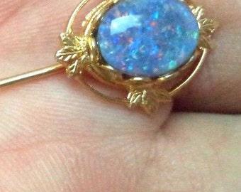 Stunning vintage black opal estate signed opal gold tone with floral design.