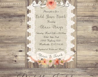 Lace Bridal Shower Invitations, Burlap and lace Bridal shower invitation, rustic bridal shower invitation, lace bridal shower invitation