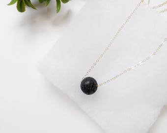 Floating Black lava rock necklace in Gold, Aromatherapy Necklace, Diffuser Necklace, Lava Rock Necklace, Crystal Necklace, Layering Jewelry