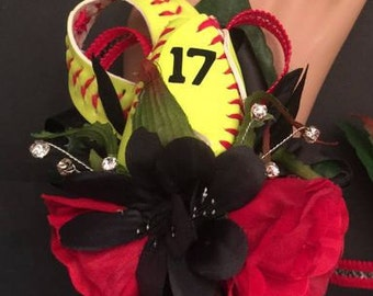 Softball rose corsage