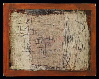 1972 Ronald Ahlström Abstract Mixed Media Composition On Board Mid Century MCM MOD Vintage Ahlstrom