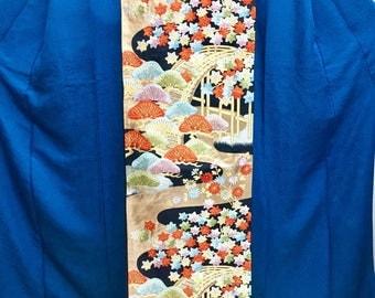 "OBI Fukuro obi ""maple and pine tree by the bridge ""Nishijin brilliant golden yarn Japanese kimono obi formal party ceremony"