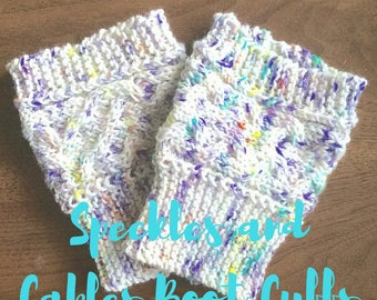 Speckles and Cables Boot Cuff PATTERN, Knitting Pattern, INSTANT DOWNLOAD
