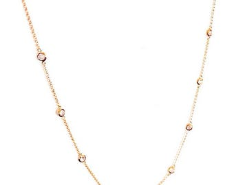 """2.2 TCW Rose Gold Round 18"""" CZ Bezel By The Yard Station 925 Sterling Silver Necklace 18"""" Inch"""