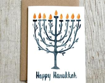Blue Menorah Hanukkah Card, Watercolor Greeting Card by Little Truths Studio