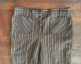 Vintage 1970s HIPPIE Brown Striped Plaid Flare BELLBOTTOM Pants Size 38x33 NOS Deadstock + Tags Levis Lee Elephant Boho Mod