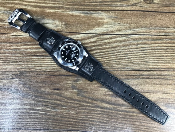 Leather watch band, Full bund strap, Leather Watch Strap, Cuff Strap, Cuff Watch band, Black, 20mm, Cuff band, FREE SHIPPING