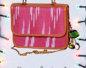 Boho Ikat Vegan Leather Crossbody Handbag With Tassel - Free Shipping in US