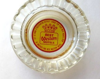 Ashtray Small Vintage Clear Glass 3.5 Inches Best Western Motels