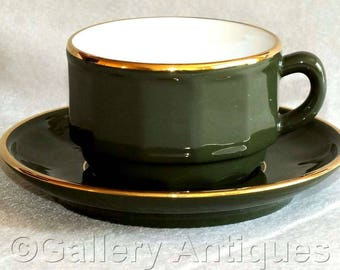 Vintage Apilco Dark Green and Gold Bistro Coffee Cup and Saucer c.1980's