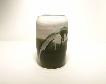 Green Mountain Vase and Cooking Utensil Holder: Deep Green and Glossy White, Contemporary Art Home Decor