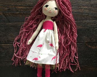 Sparkle Starlet Doll, Handmade Doll, Gingermelon Doll, Fabric Doll, Pink Hair Doll, Flamingo Dress, Flamingo Doll, Black Friday Sale