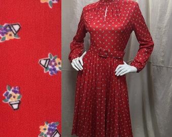 Flower Pot Polka Dot 60s 70s Dress Red Secretary Long Sleeve Pleated Dress Vintage