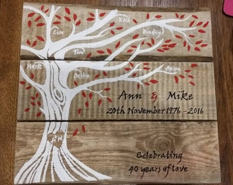 Personalised pallet wood family tree wall plaque