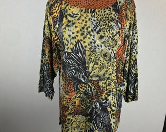 Carole Little German Rayon Animal Print Tunic Top Vintage 80's 90's Made in USA of fabric from Germany Size 10