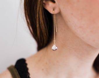 Champagne Moonstone Teardrop Gold Filled Threaders