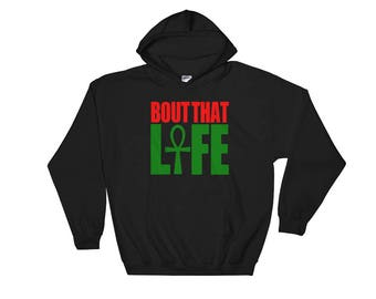 African Clothing {Bout That Ankh Life} // Pan African Hooded Sweatshirt // RBG Clothing // Egyptian Ankh Hoodie // Red Black Green Garveyite