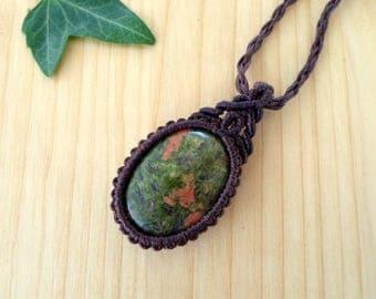Unakite macrame pendant, macrame jewelry, unakite necklace, macrame stone, gemstone pendant, unakite jewelry, tribal pendant, elven jewelry
