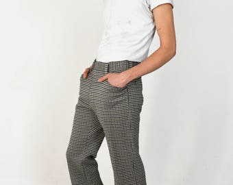 Vintage 1970s Bell Bottom Pants Houndstooth Double Knit Plaid Navy Brown Slacks Trousers