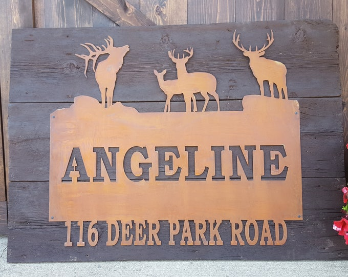 Rustic Custom Metal Name Sign, Elk, Deer, Address, Welcome, Driveway, House Numbers, Family Name, Hunting, Wildlife, Country Style, Woods