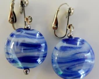 Clip On earrings-blue earrings-lampwork earrings-glass earrings-silver-handcrafted-one-off-feminine-orbs-blue and white