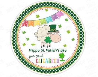 """St Patrick's Day Printable Tags-Happy St Patrick's Day-D.I.Y Tags-Sheep- St Patrick's Day- Personalized Stickers (You Print) 2.5"""" tag"""
