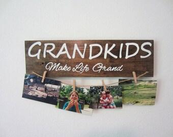 Grandkids make life grand sign, grandkids sign with clothespins, grandparent gift, sign for grandparents, gift for grandma, rustic sign