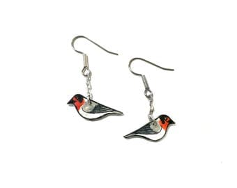 Little Red-faced Warbler (Cardellina rubrifrons) Hand Drawn Bird Earrings