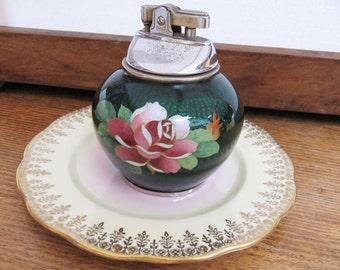 Vintage Cloisonne Green Lighter, Decorative Floral Prince Lighter, Old Japanese Cloisonne Home Decor, Vintage Cloisonne for Collectors