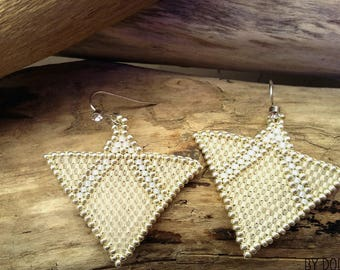 Handwoven earrings triangle white and silver glass Boho jewelry By Dodie