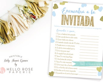 Spanish Find the Guest . Encuentra a la Invitada Baby Shower Game . Blue and Gold . Boy Baby Shower Game . Printable Instant Download Games