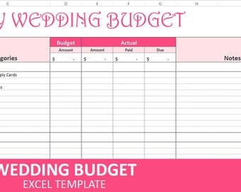 Easy Wedding Budget - Pink - Wedding Budget Planner | Excel Wedding Budget Wedding Expenses Tracker | Instant Digital Download