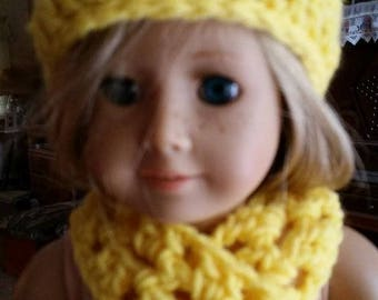 """Crocheted yellow hat and scarf for American Girl, 18"""" doll"""