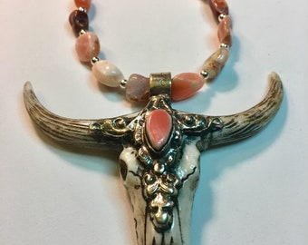 Coral and Mexican Fire Opal with Bull Horn Necklace Set