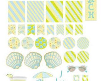 Beach Planner Stickers 34 piece set , Journals , Calendar , reminder , Labels , Teens , Adults