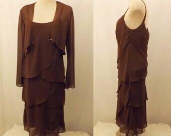 Vintage 80s Patra Chocolate Brown Chiffon Evening Dress Size 10