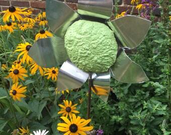 Green Garden Flower Stake. Garden Flower Stake. Garden Decor. Metal Garden  Stake.