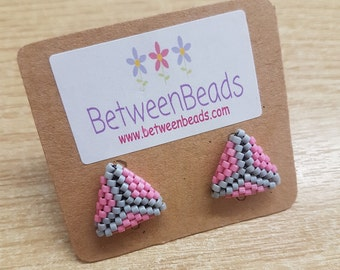 Geometric Earrings, Triangle Earrings, Pink and Grey, Pink Ear Studs, Surgical Steel Post Earrings, Gift for Teens, Girls, Her, Pale Pink
