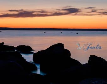 Head's Beach Sunset ~ Jamestown, RI, Narragansett Bay, Art, Artwork, Photograph, Joules, New England, Sunset, Ocean, Coastal