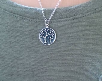 Sterling silver mother and baby tree necklace; two trees necklace; mother daughter necklace; mother's day necklace; tree pendant necklace